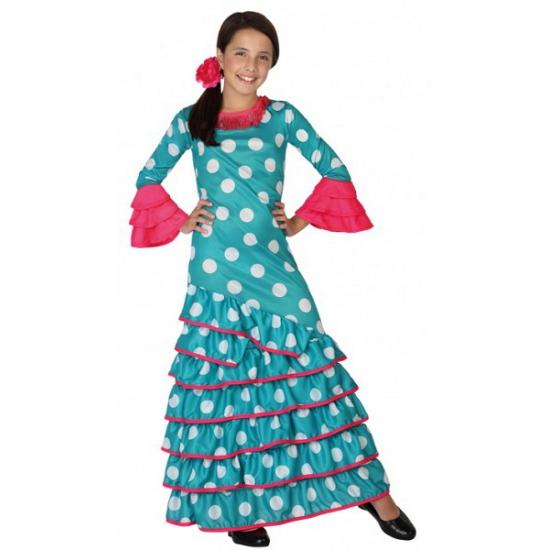 Blauwe Spaanse verkleedjurk voor kids
