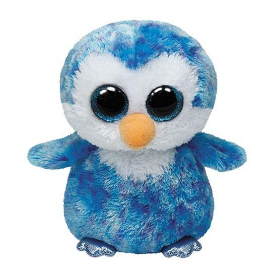 Blauwe Ty Beanie pinguin knuffels 15 cm (bron: Sinterklaas-feestwinkel)