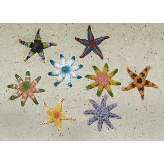 Gekleurde decoratie zeesterren 8 stuks