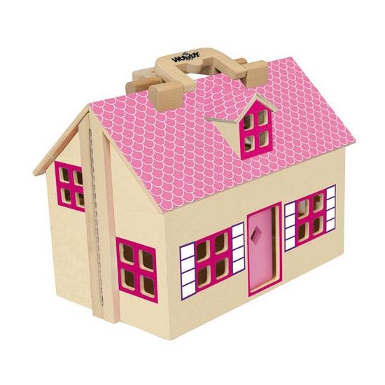 Houten poppenhuizen roze uitklapbaar