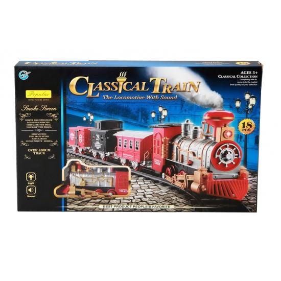 Klassieke trein locomotief en rails