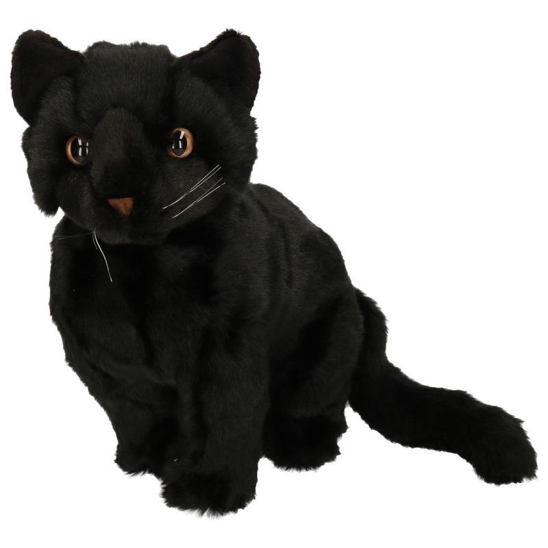 Knuffel kat zittend 30 cm zwart