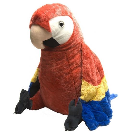 Knuffeldier rode papegaai 76 cm