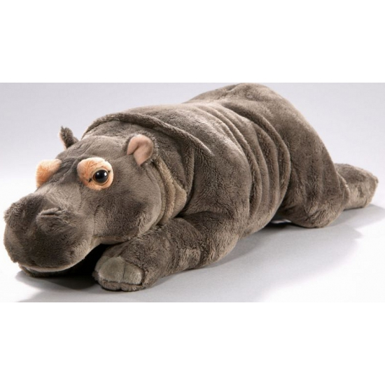 Liggende knuffel nijlpaard 42 cm