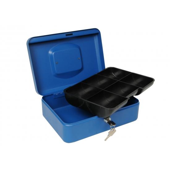 Metalen geldkluisje blauw 25 cm