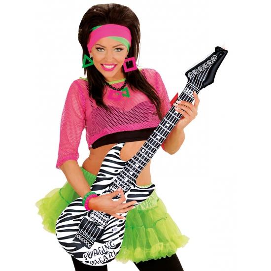 Opblaas gitaar met zebra print