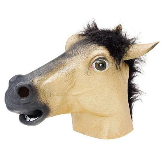 Paarden masker beige van rubber