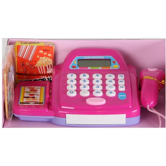 Paars speelgoed winkeltje kassa met digitale display