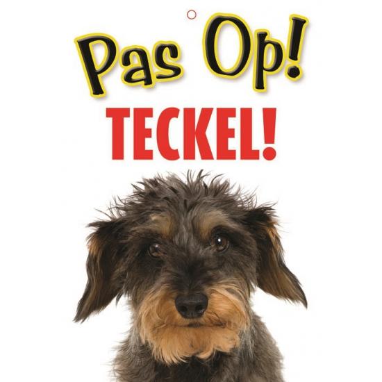 Pas op voor Teckel bordje (bron: Sinterklaas-feestwinkel)