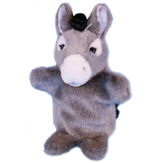 Pluche ezel handpoppen 28 cm