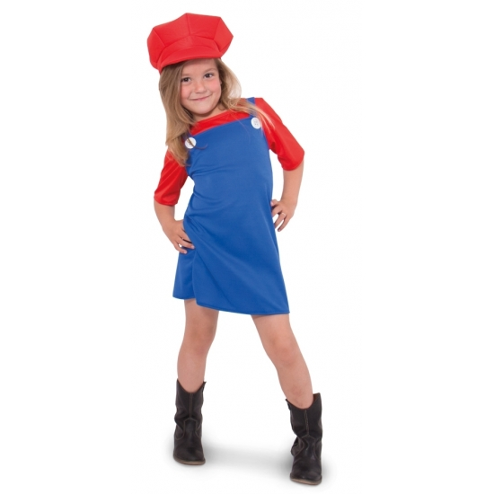 Rode loodgieter outfit voor meisjes (bron: Sinterklaas-feestwinkel)