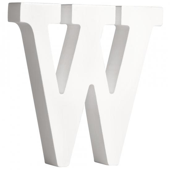 Witte houten letter W 11 cm (bron: Sinterklaas-feestwinkel)