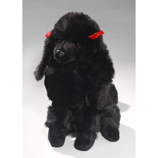 Zittende zwarte Poedel knuffel dier 30 cm (bron: Sinterklaas-feestwinkel)