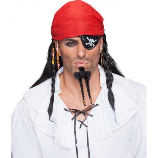 Zwarte piraten pruik met bandana