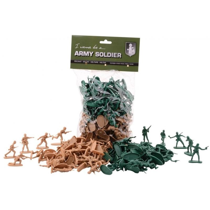 100x Army Forces speel soldaatjes groen/bruin