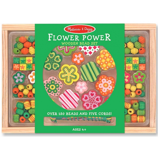 120-delige kralenset van hout Flower Power