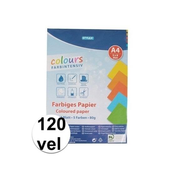 120 velletjes gekleurd tekenpapier A4