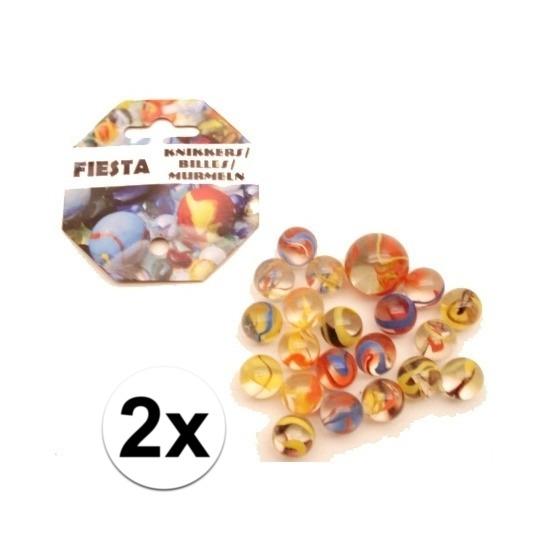 2x Gekleurde fiesta knikkers in netje 42 stuks