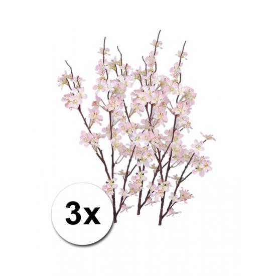 3x roze appelbloesem takken 84 cm