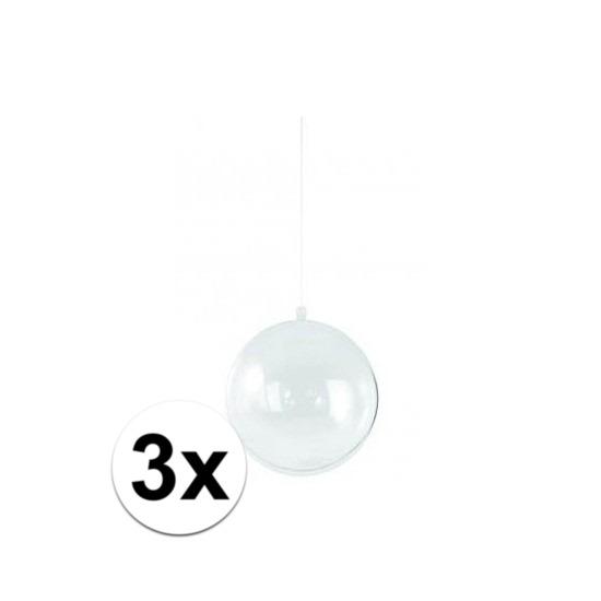 3x stuks Kerstballen om te vullen 14 cm