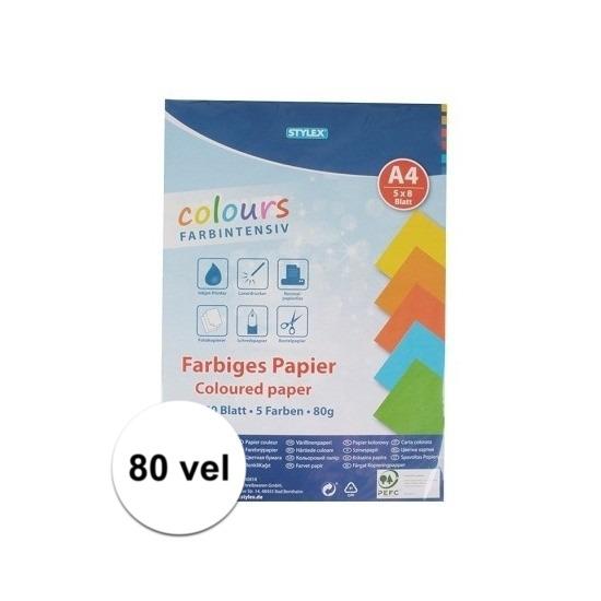 80 velletjes gekleurd tekenpapier A4