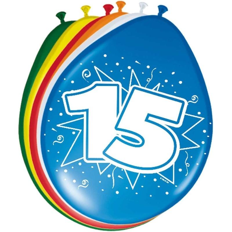 8x stuks Leeftijd ballonnen versiering 15 jaar 30 cm