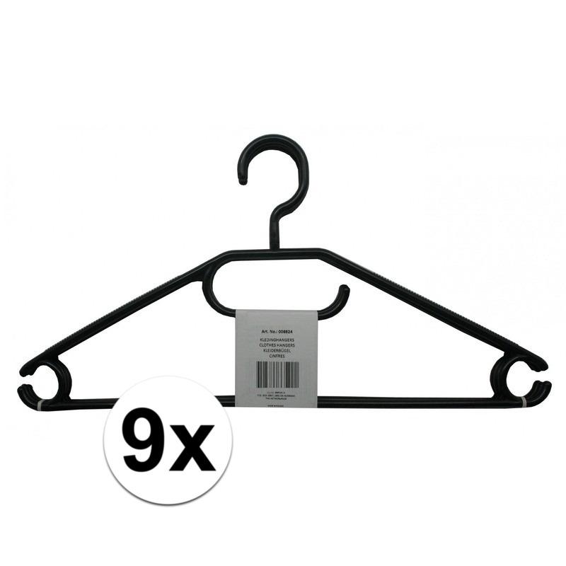 9x Voordelige zwarte kledinghangers plastic
