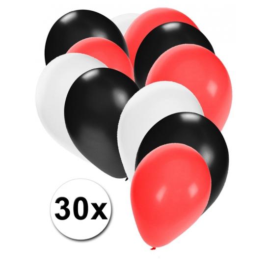 Ballonnen in kleuren zwart wit rood