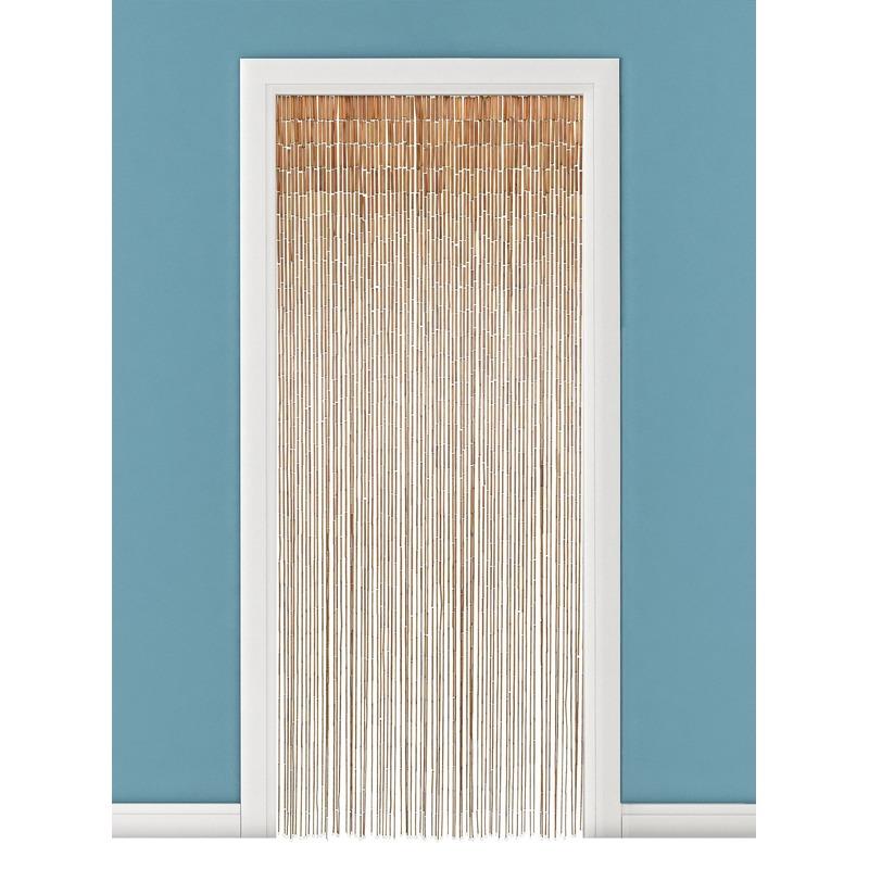 Bamboe deurgordijn naturel met houten stok 90 x 200 cm