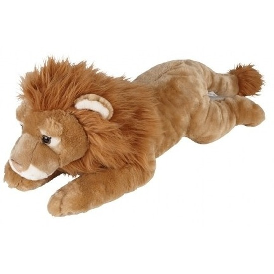 Bruine leeuwen knuffels liggend 60 cm knuffeldieren