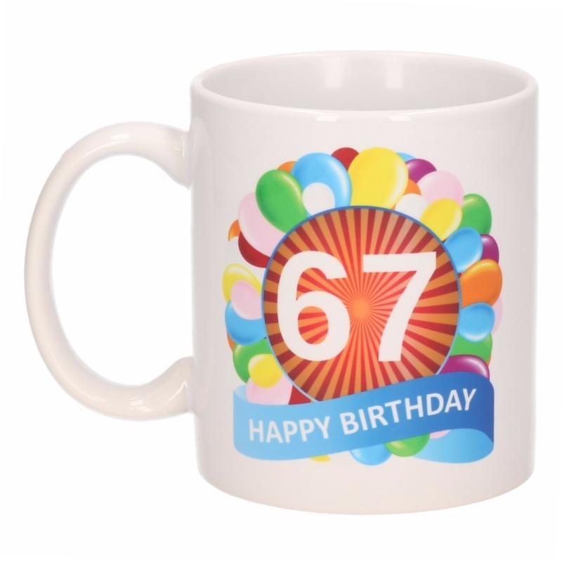 Cadeau 67 jaar mok / beker ballon thema