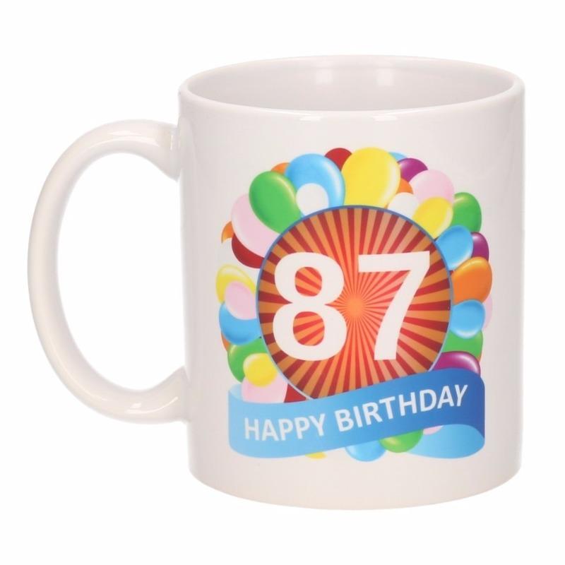 Cadeau 87 jaar mok / beker ballon thema