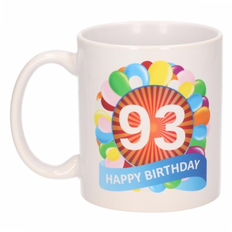 Cadeau 93 jaar mok / beker ballon thema