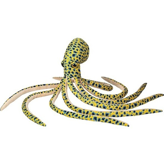 Gele octopus-inktvis vissen knuffels 100 cm knuffeldieren