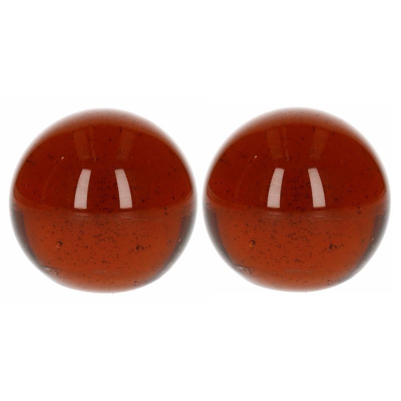 Glazen knikker bruin 6 cm 2 stuks