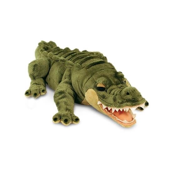 Groene pluche liggende alligator/krokodil knuffel van 46 cm