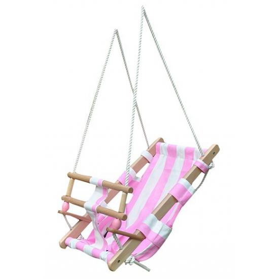Houten schommel voor baby wit roze