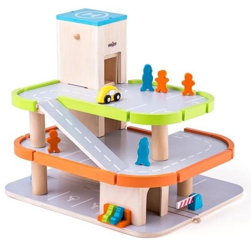 Houten speelgoed garages met lift