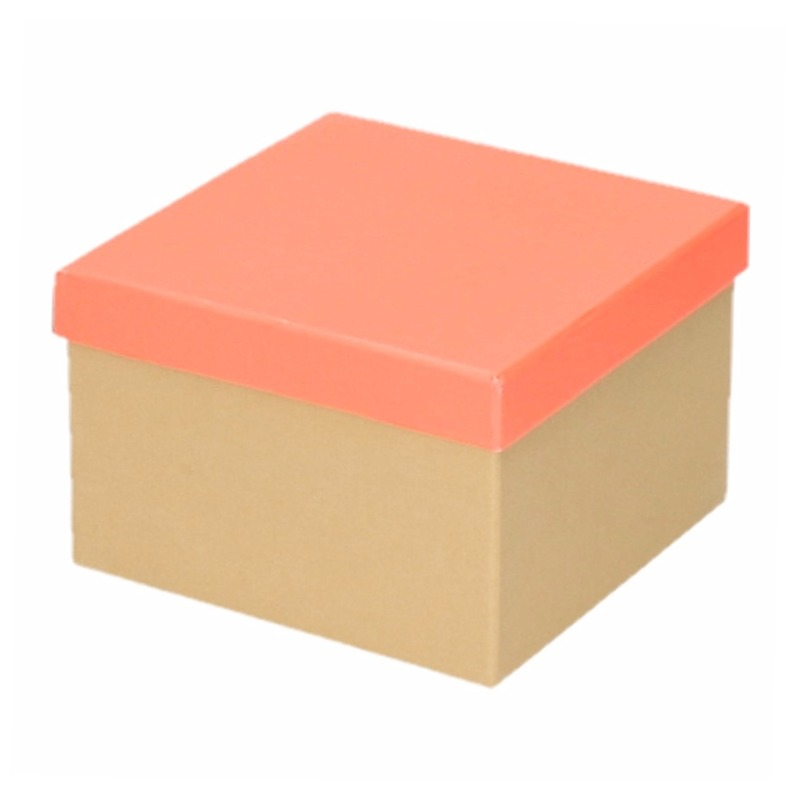 Kado doosjes naturel/neon zalm roze 15 cm rechthoek