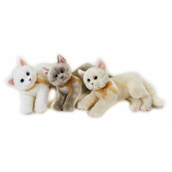 Katten Knuffel Liggend Beige 34 Cm