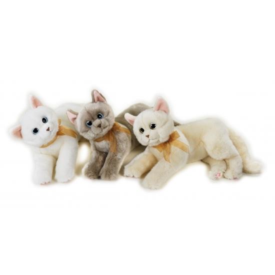Katten Knuffel Liggend Wit 34 Cm