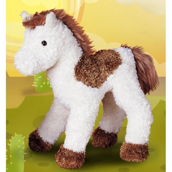 Knuffel paard bruin/wit gevlekt 23 cm