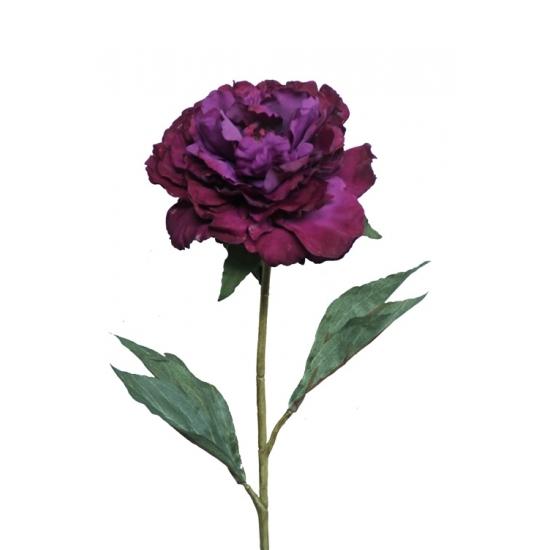Kunstbloem paarse pioenroos 67 cm