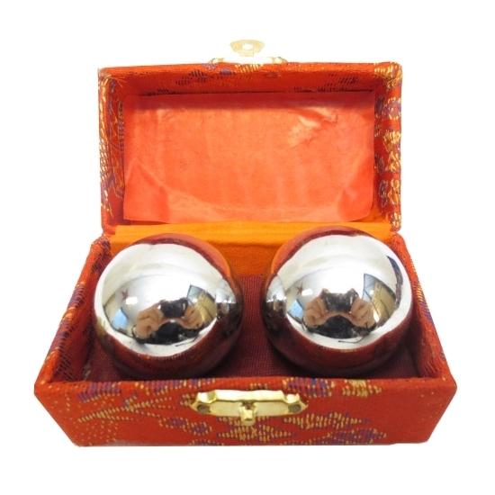 Gadgets Geen Massagekogels 3,5 cm in kistje zilver