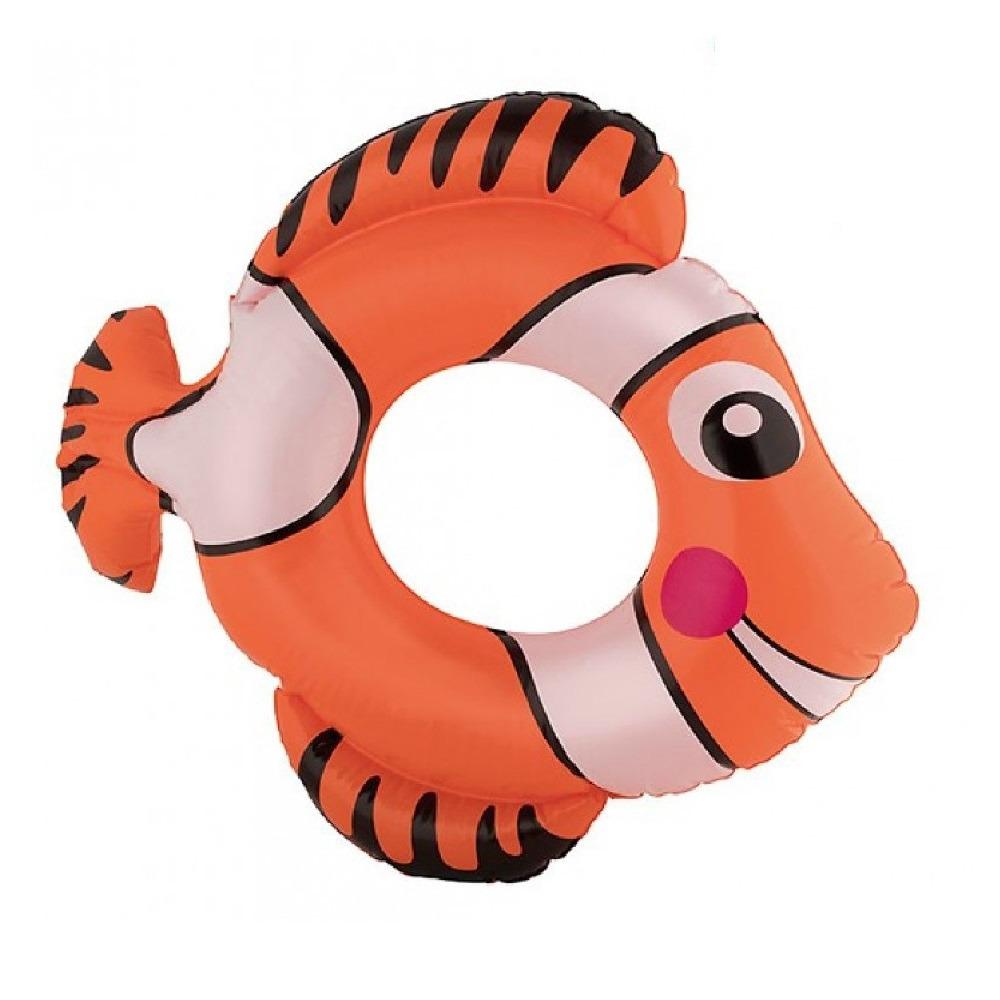 Opblaasbare oranje vis zwemband 79 cm