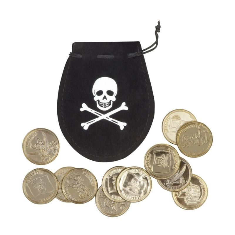 Oude piraten munten met buidel