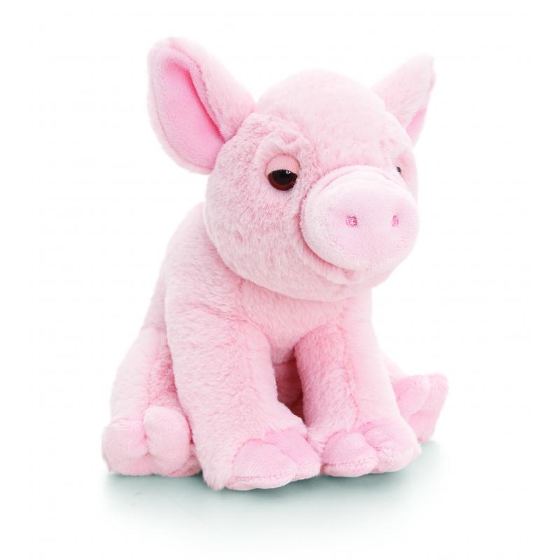 Pluche roze varken knuffel met geluid 16cm