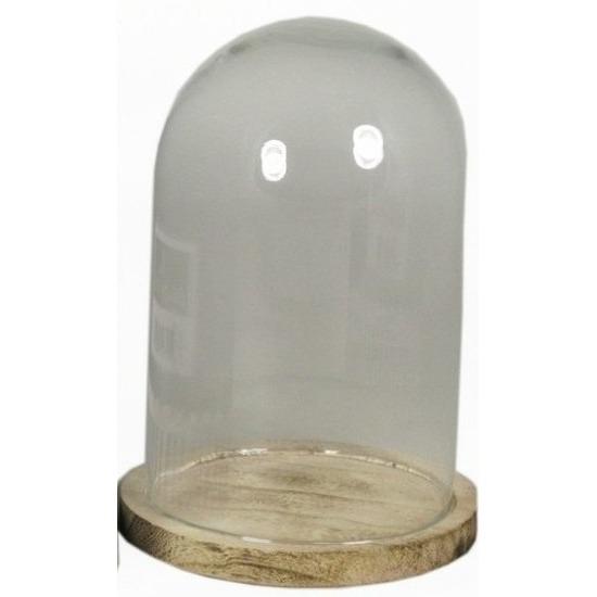 Presentatie stolp van glas op houten bord 22 cm