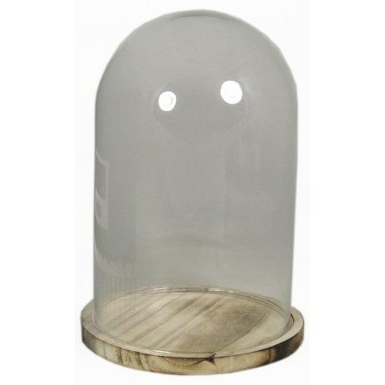 Presentatie stolp van glas op houten bord 25 cm