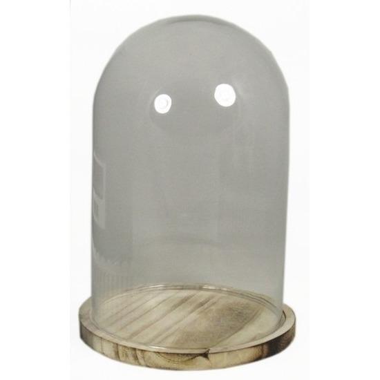 Presentatie stolp van glas op houten bord 30 cm